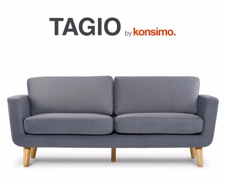 TAGIO Szara skandynawska sofa 3 osobowa szary - zdjęcie 8