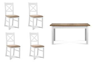 CRAM, LEMAS, https://konsimo.pl/kolekcja/cram-lemas/ Duży rozkładany stół z 4 krzesłami biały/dąb biały/beżowy|biały/ciemny dąb - zdjęcie