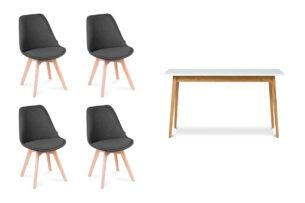 NETAL, FRISK, https://konsimo.pl/kolekcja/netal-frisk/ Biały stół rozkładany skandynawski z krzesłami ciemny szary| biały/dąb naturalny - zdjęcie