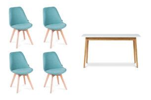 NETAL, FRISK, https://konsimo.pl/kolekcja/netal-frisk/ Biały stół rozkładany skandynawski z krzesłami turkusowy  biały/dąb naturalny - zdjęcie