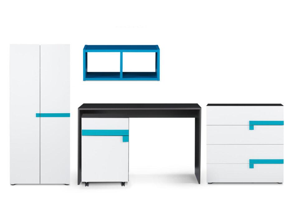 SHIBU Zestaw meble do pokoju dziecka 5 elementów  grafit/biały/niebieski - zdjęcie 0
