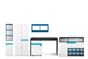 SHIBU, https://konsimo.pl/kolekcja/shibu/ Zestaw meble do pokoju dziecka 6 elementów  grafit/biały/niebieski - zdjęcie
