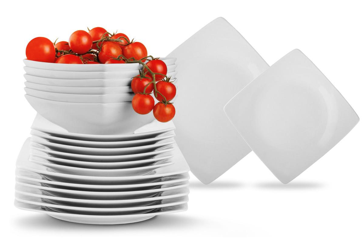 Serwis obiadowy kwadratowy 18 elementów biały dla 6 osób