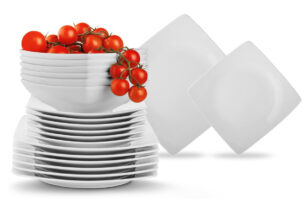 EPIRI, https://konsimo.pl/kolekcja/epiri/ Serwis obiadowy kwadratowy 36 elementów elementów biały dla 12 osób biały - zdjęcie