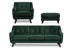 TERSO, https://konsimo.pl/kolekcja/terso/ Skandynawski zestaw mebli do salonu 3 el. welur butelkowa zieleń ciemny zielony - zdjęcie