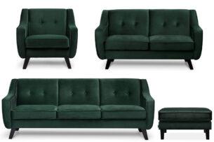 TERSO, https://konsimo.pl/kolekcja/terso/ Zestaw mebli do salonu, 4 el ciemny zielony - zdjęcie