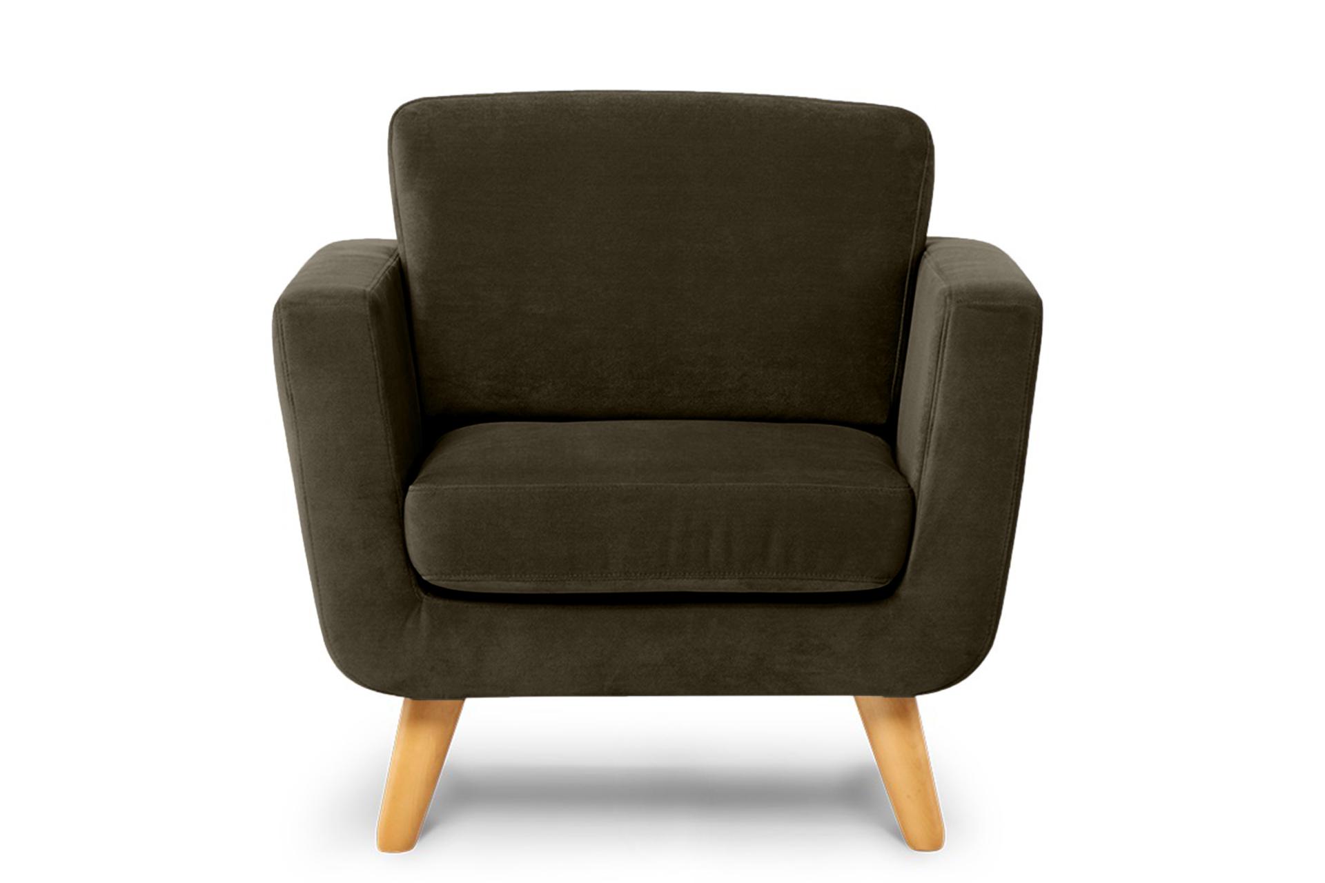 Brązowy fotel skandynawski