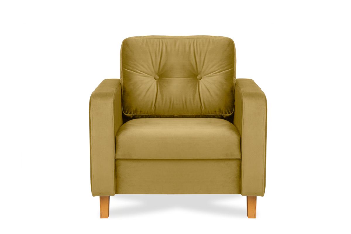 Żółty fotel welurowy do salonu