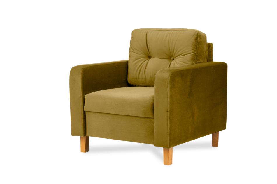 ERISO Żółty fotel welurowy do salonu miodowy - zdjęcie 1