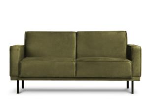 BARO, https://konsimo.pl/kolekcja/baro/ Prosta sofa dwuosobowa na metalowych nóżkach oliwkowa oliwkowy - zdjęcie