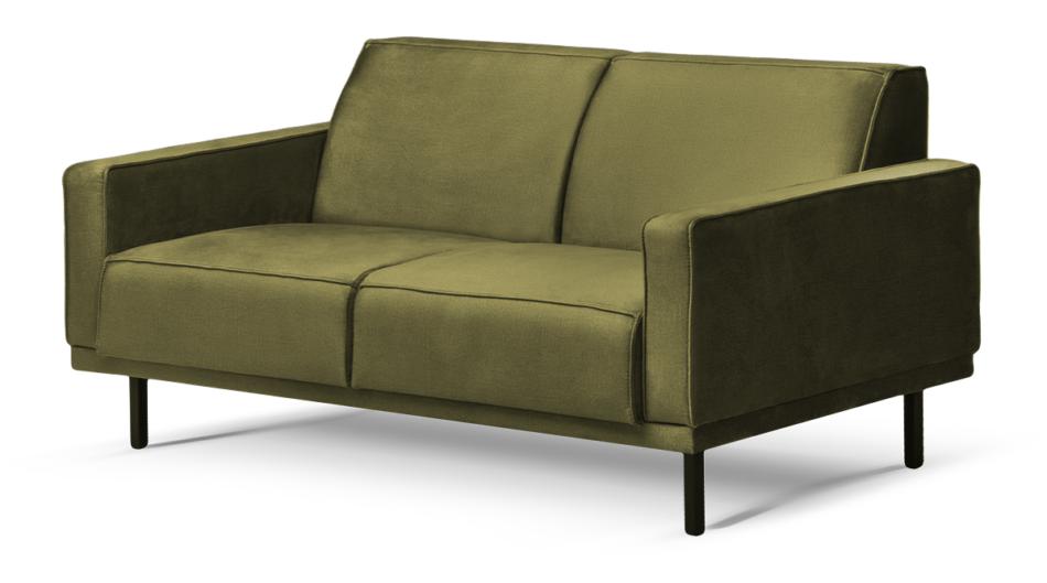 BARO Prosta sofa dwuosobowa na metalowych nóżkach oliwkowa oliwkowy - zdjęcie 1