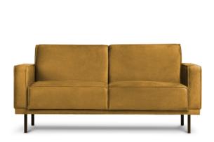 BARO, https://konsimo.pl/kolekcja/baro/ Prosta sofa dwuosobowa na metalowych nóżkach miodowa brązowy - zdjęcie
