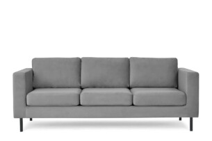 TOZZI, https://konsimo.pl/kolekcja/tozzi/ Welurowa sofa 3 osobowa na metalowych nóżkach szara szary - zdjęcie