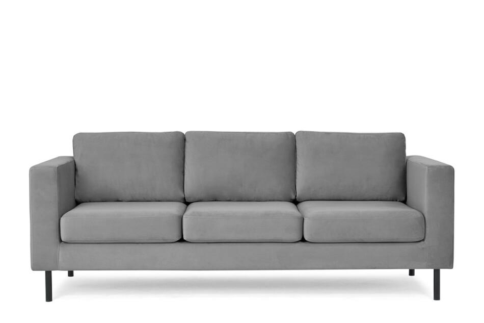 TOZZI Welurowa sofa 3 osobowa na metalowych nóżkach szara szary - zdjęcie 0