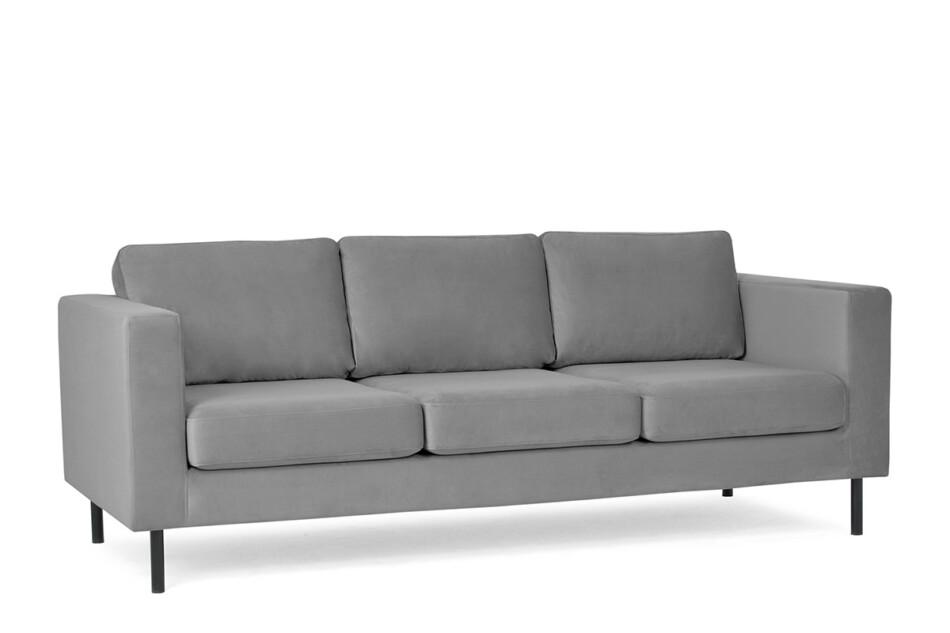 TOZZI Welurowa sofa 3 osobowa na metalowych nóżkach szara szary - zdjęcie 1