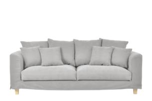 BRYONI, https://konsimo.pl/kolekcja/bryoni/ Sofa 3 osobowa z dodatkowymi poduszkami jasnoszara jasny szary - zdjęcie