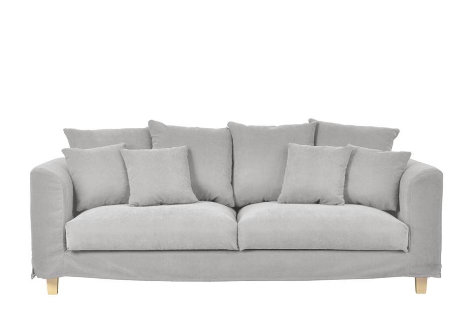 BRYONI Sofa 3 osobowa z dodatkowymi poduszkami jasnoszara jasny szary - zdjęcie 0