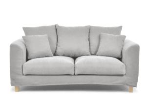 BRYONI, https://konsimo.pl/kolekcja/bryoni/ Sofa 2 osobowa z dodatkowymi poduszkami jasnoszara jasny szary - zdjęcie