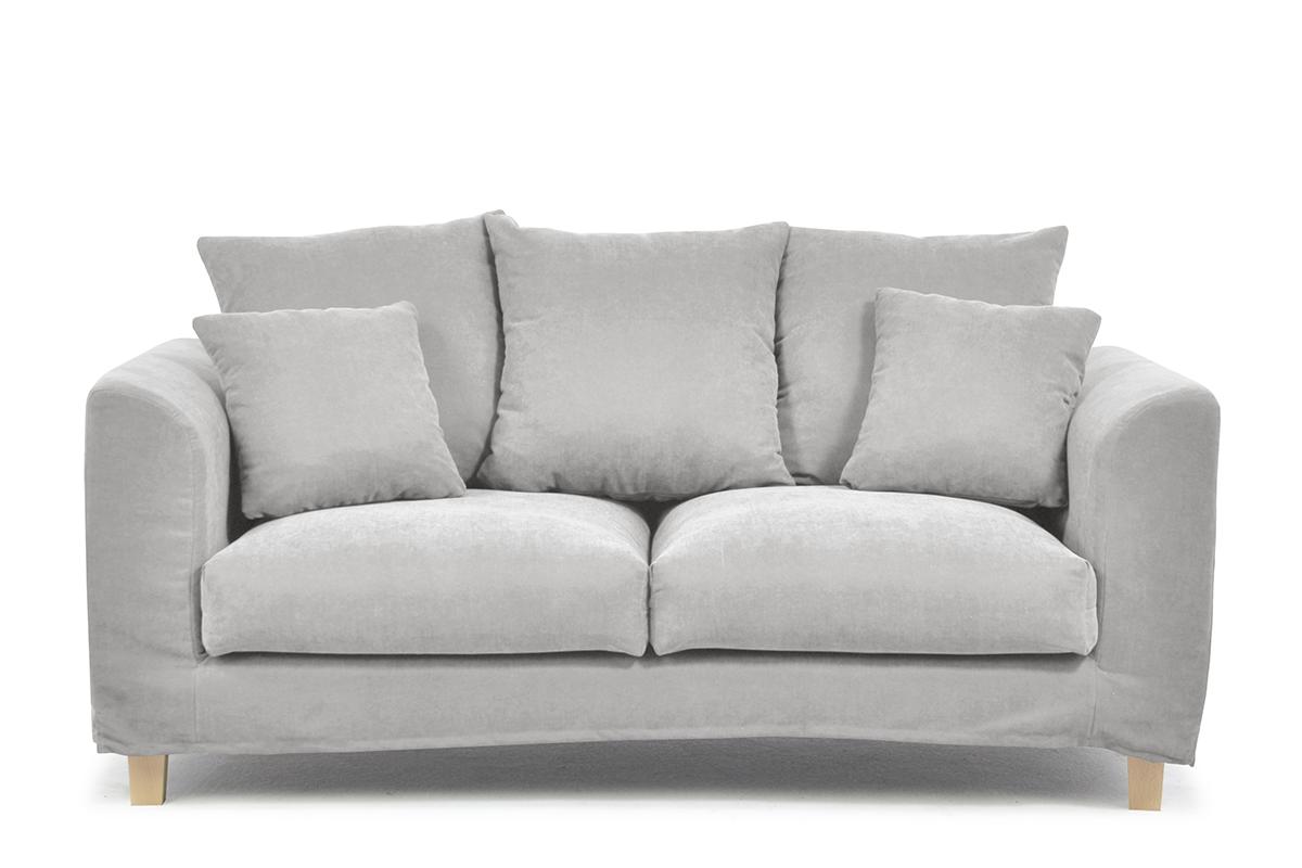 Sofa 2 osobowa z dodatkowymi poduszkami jasnoszara