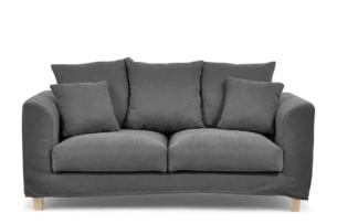 BRYONI, https://konsimo.pl/kolekcja/bryoni/ Sofa 2 osobowa z dodatkowymi poduszkami szara ciemny szary - zdjęcie