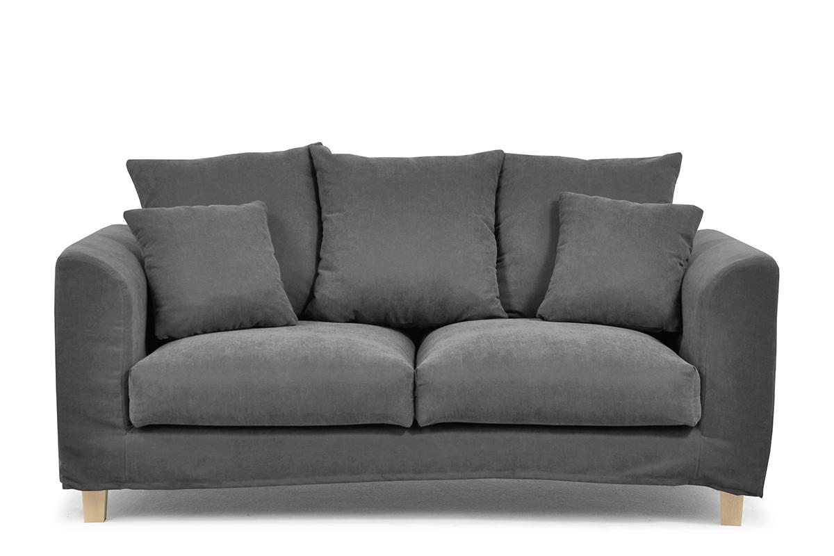Sofa 2 osobowa z dodatkowymi poduszkami szara