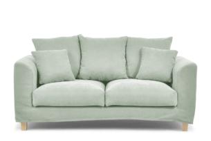 BRYONI, https://konsimo.pl/kolekcja/bryoni/ Sofa 2 osobowa z dodatkowymi poduszkami miętowa miętowy - zdjęcie