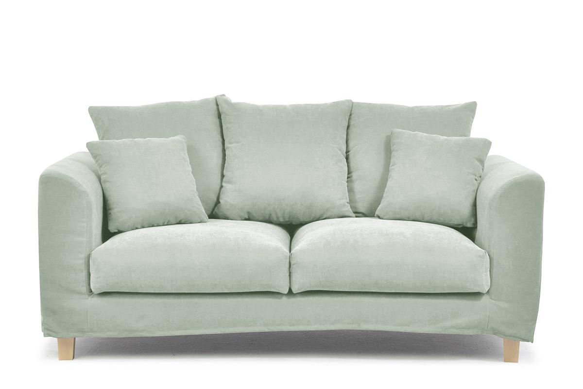 Sofa 2 osobowa z dodatkowymi poduszkami miętowa