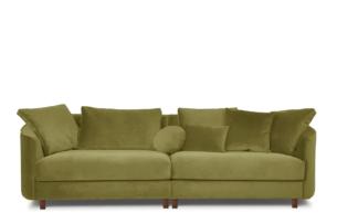 JUNI, https://konsimo.pl/kolekcja/juni/ Duża sofa welurowa na drewnianych nóżkach oliwkowa oliwkowy - zdjęcie