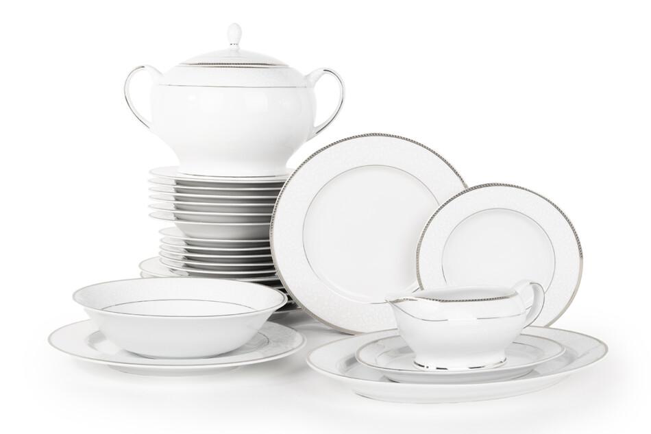 NEW HOLLIS PLATIN Serwis obiadowy polska porcelana 6 os. 24 elementy biały / platynowy wzór Platin - zdjęcie 0