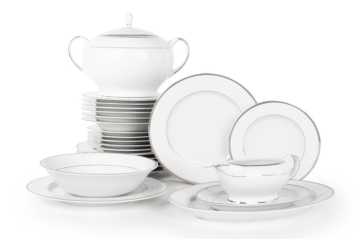 Serwis obiadowy polska porcelana 6 os. 24 elementy biały / platynowy wzór