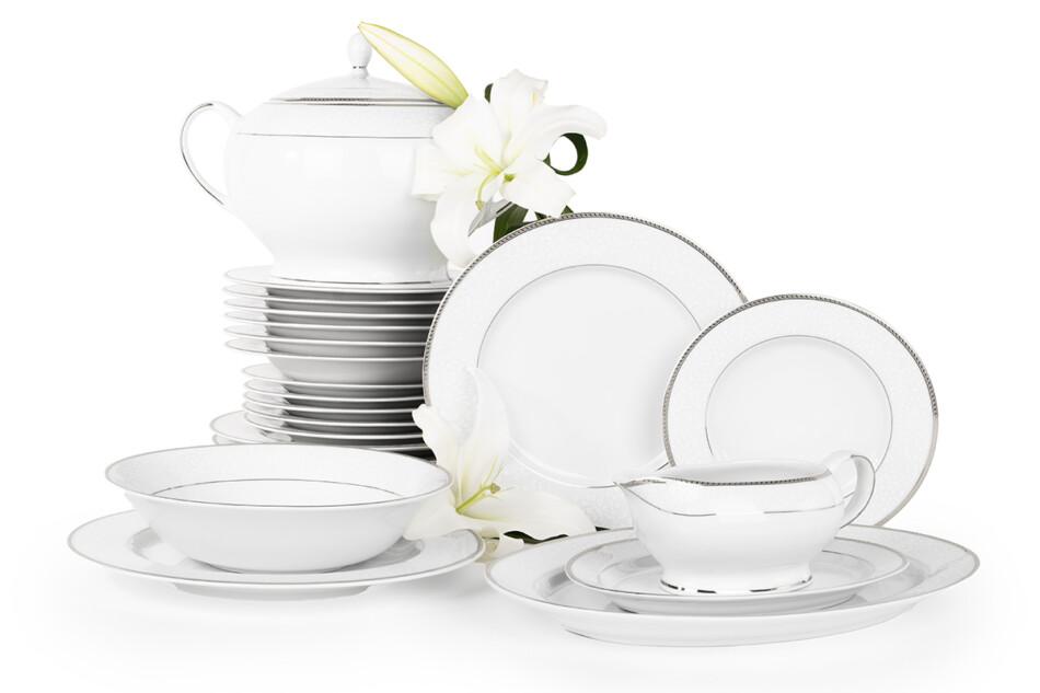 NEW HOLLIS PLATIN Serwis obiadowy polska porcelana 6 os. 24 elementy biały / platynowy wzór Platin - zdjęcie 2