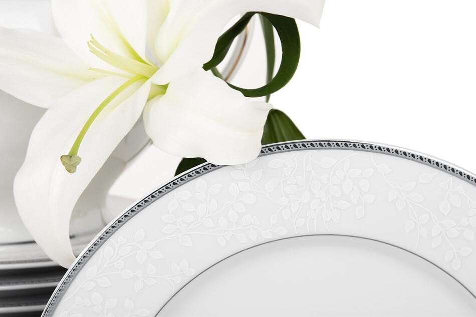 NEW HOLLIS PLATIN Serwis obiadowy polska porcelana 6 os. 24 elementy biały / platynowy wzór Platin - zdjęcie 3