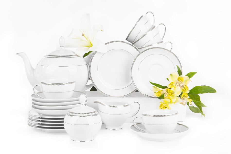 NEW HOLLIS PLATIN Serwis herbaciany polska porcelana 6 os. 15 elementów biały / platynowy wzór Platin - zdjęcie 0
