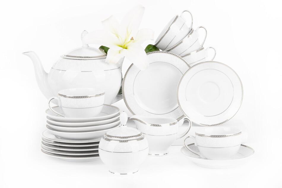 NEW HOLLIS PLATIN Serwis herbaciany polska porcelana 6 os. 15 elementów biały / platynowy wzór Platin - zdjęcie 3