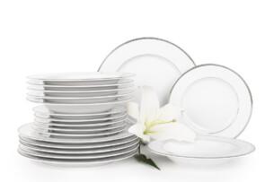 NEW HOLLIS PLATIN, https://konsimo.pl/kolekcja/new-hollis-platin/ Serwis obiadowy polska porcelana 6 os. 18 elementów biały / platynowy wzór Platin - zdjęcie