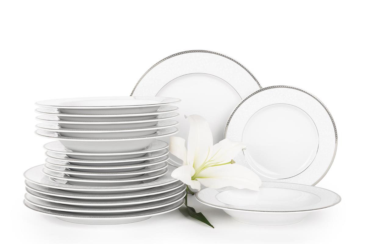 Serwis obiadowy polska porcelana 6 os. 18 elementów biały / platynowy wzór