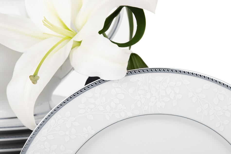NEW HOLLIS PLATIN Serwis obiadowy polska porcelana 6 os. 18 elementów biały / platynowy wzór Platin - zdjęcie 2