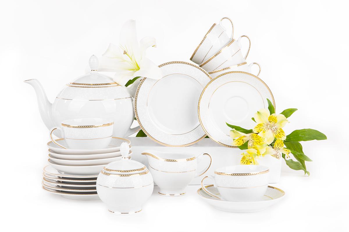 Serwis herbaciany polska porcelana 6 os. 15 elementów biały / złoty wzór