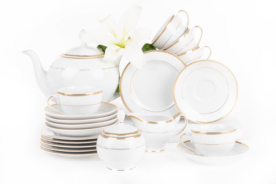 NEW HOLLIS GOLD Serwis herbaciany polska porcelana 6 os. 15 elementów biały / złoty wzór Gold - zdjęcie 3
