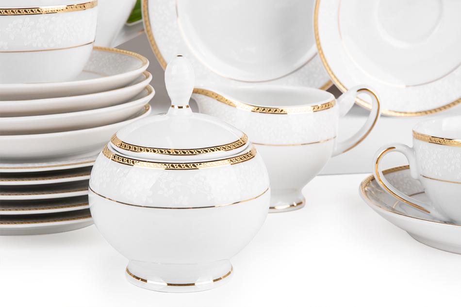 NEW HOLLIS GOLD Serwis herbaciany polska porcelana 6 os. 15 elementów biały / złoty wzór Gold - zdjęcie 5
