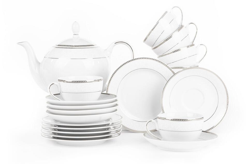 NEW HOLLIS PLATIN Serwis herbaciany polska porcelana 6 os. 15 elementów biały / platynowy wzór Platin - zdjęcie 2