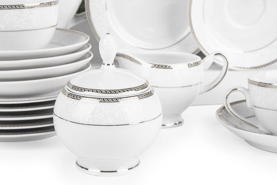 NEW HOLLIS PLATIN Serwis herbaciany polska porcelana 6 os. 15 elementów biały / platynowy wzór Platin - zdjęcie 5