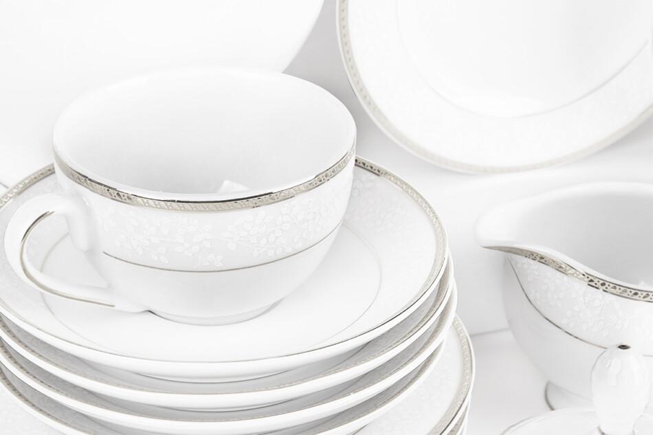 NEW HOLLIS PLATIN Serwis herbaciany polska porcelana 6 os. 15 elementów biały / platynowy wzór Platin - zdjęcie 4