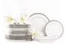 GEOS PLATIN Serwis obiadowy polska porcelana 18 elementów biały / platynowy wzór dla 6 os. Platin - zdjęcie 1