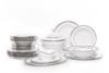 GEOS PLATIN Serwis obiadowy polska porcelana, sosjerka, waza 18 elementów biały / platynowy wzór dla 6 os. Platin - zdjęcie 1