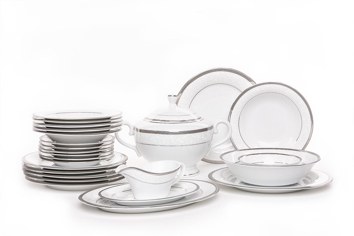 Serwis obiadowy polska porcelana, sosjerka, waza 18 elementów biały / platynowy wzór dla 6 os.