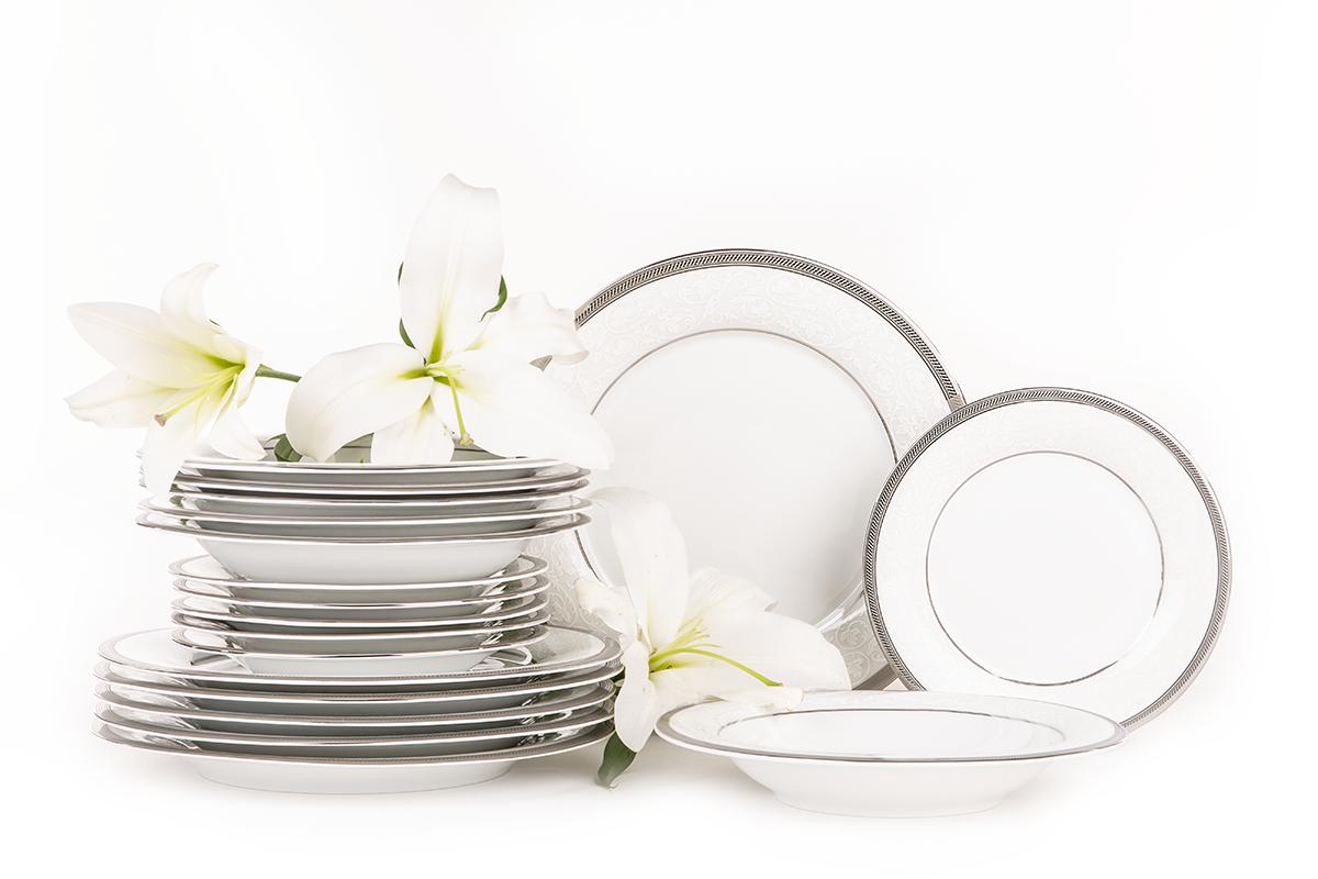 Serwis obiadowy polska porcelana 18 elementów biały / platynowy wzór dla 6 os.