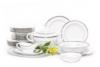 GEOS PLATIN Serwis obiadowy polska porcelana, sosjerka, waza 18 elementów biały / platynowy wzór dla 6 os. Platin - zdjęcie 3