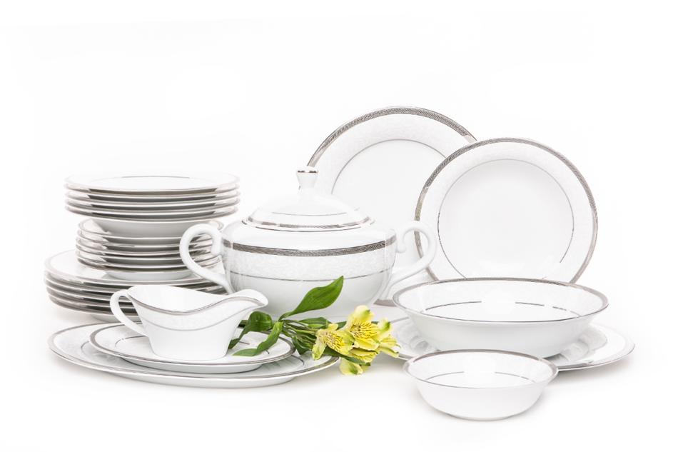 GEOS PLATIN Serwis obiadowy polska porcelana, sosjerka, waza 18 elementów biały / platynowy wzór dla 6 os. Platin - zdjęcie 2