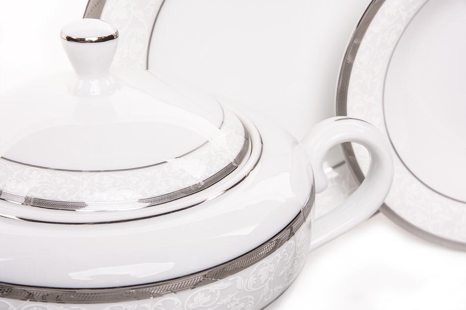 GEOS PLATIN Serwis obiadowy polska porcelana, sosjerka, waza 18 elementów biały / platynowy wzór dla 6 os. Platin - zdjęcie 4